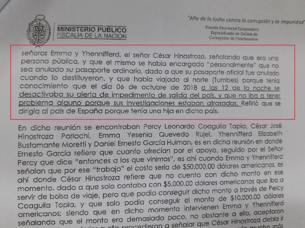 Disposición fiscal sobre la fuga del ex juez supremo César Hinostroza Pariachi.