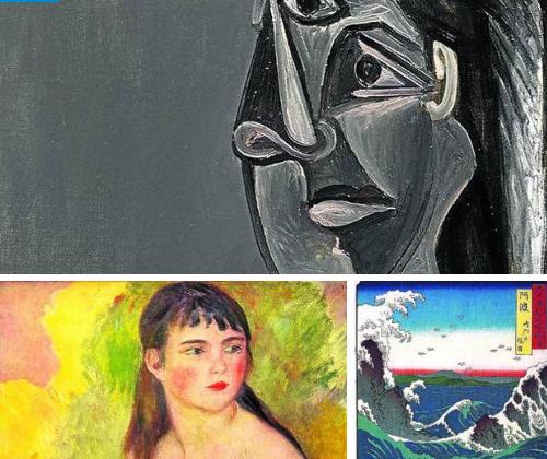 'Retrato de Dora Maar'. Picasso lo regaló a Matisse. | 'Mujer desnuda'. De Renoir, lo tuvo Monet. | 'Remolinos de Naruto'. Hokusai, en poder de Monet.